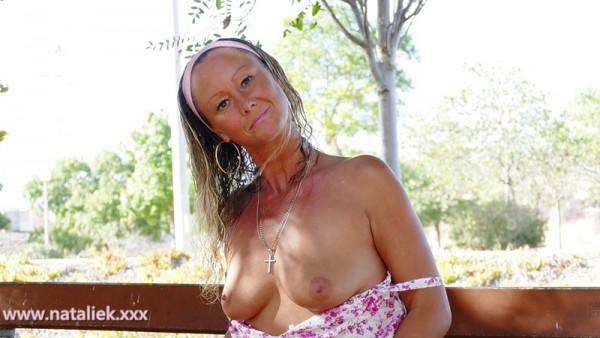 outdoor nudity public flashing natural tits