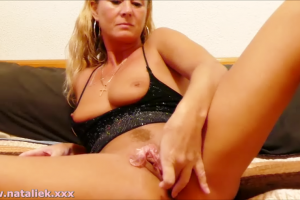 Natalie K sucks & fucks big toy in condom instruction & JOI