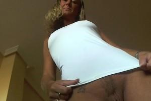 Natalie K in short white top